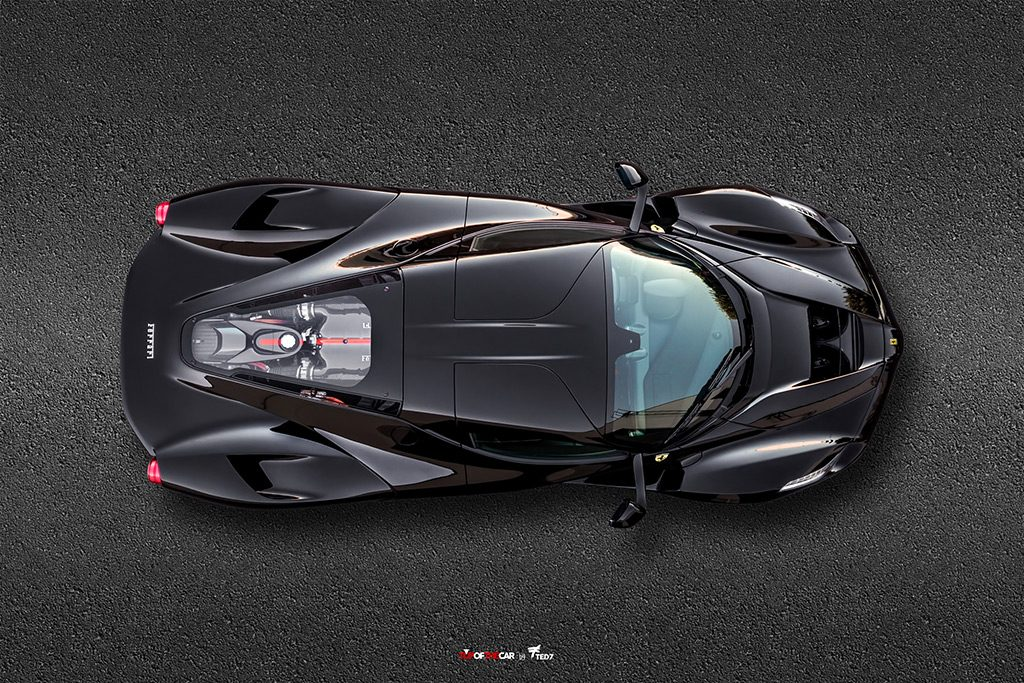 Black Ferrari LaFerrari Top of the Car