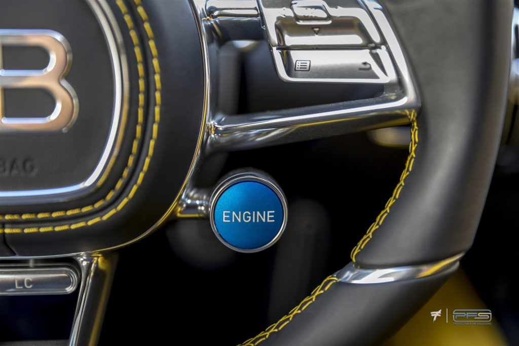 Bugatti Chiron Engine Start-Stop Button - Protective Film Solutions Orange County, CA.