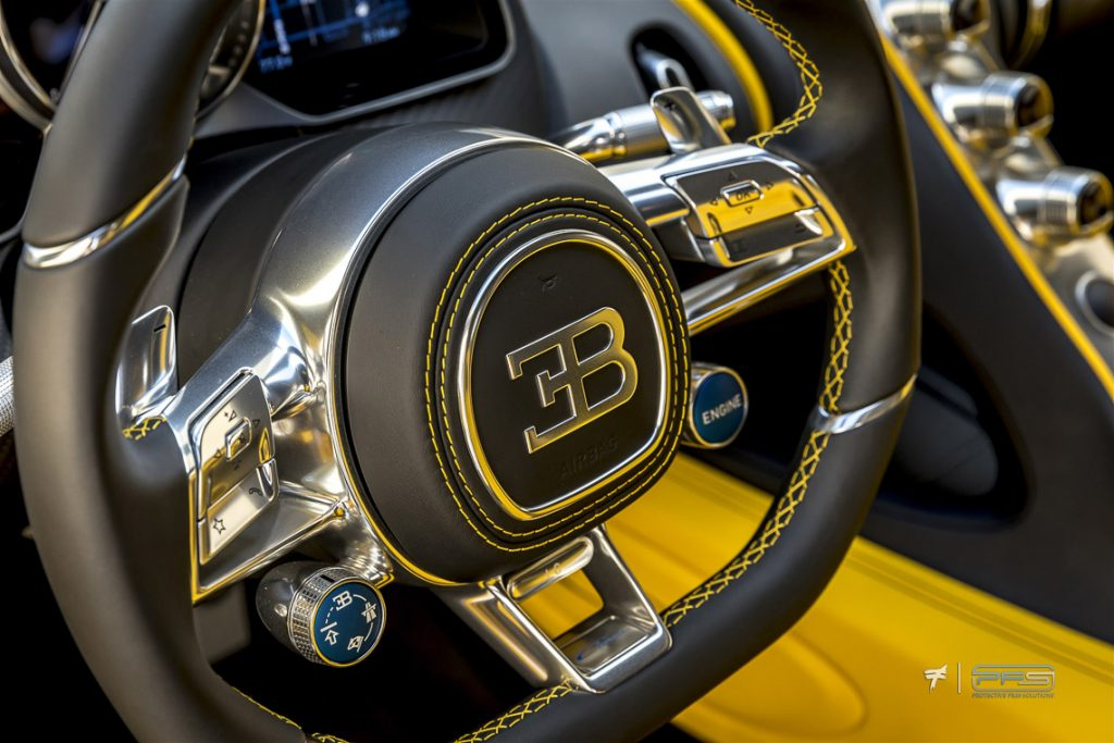 Bugatti Logo on Chiron Steering Wheel