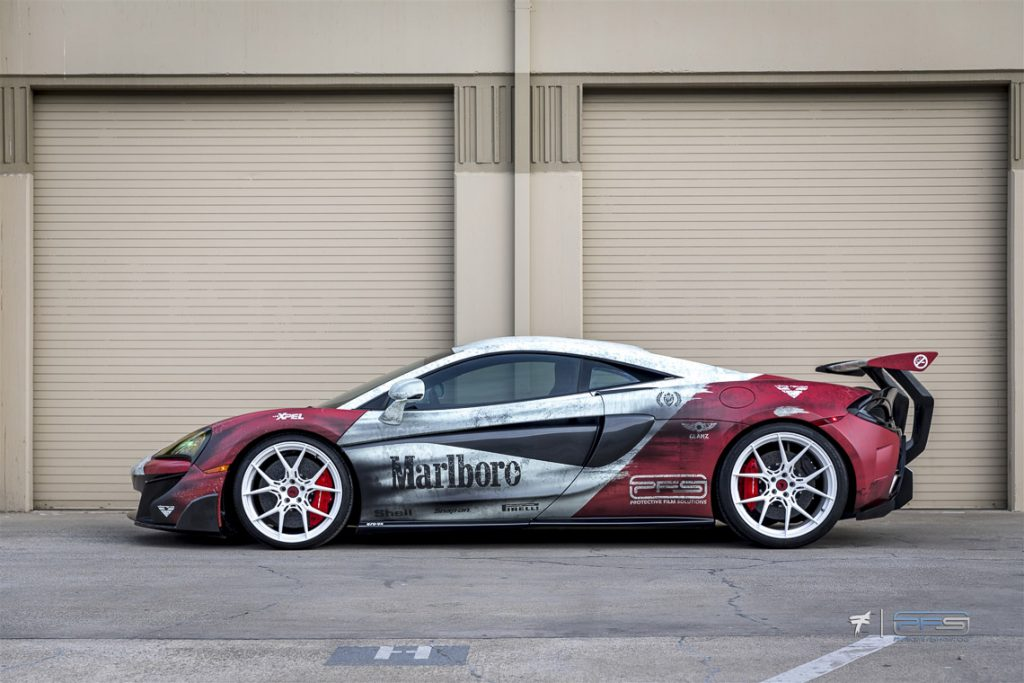 Profile View McLaren 570S in Marlboro F1 Racing Theme - Side View
