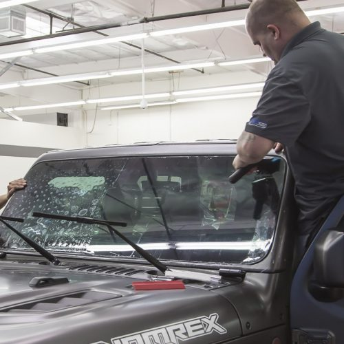 Installing ClearPlex on an offroad vehicle - Protective Film Solutions Windshield Protection