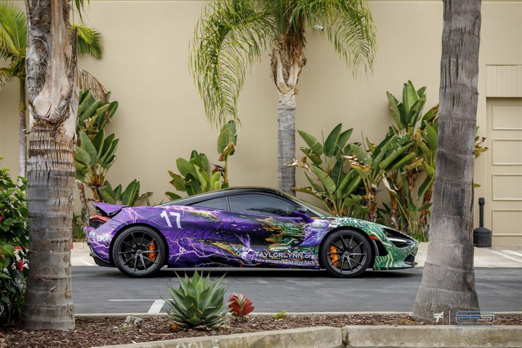 Side View Taylor Lynn Foundation McLaren 720S - Skepple Design - Photo Ted 7. Wrap by PFS